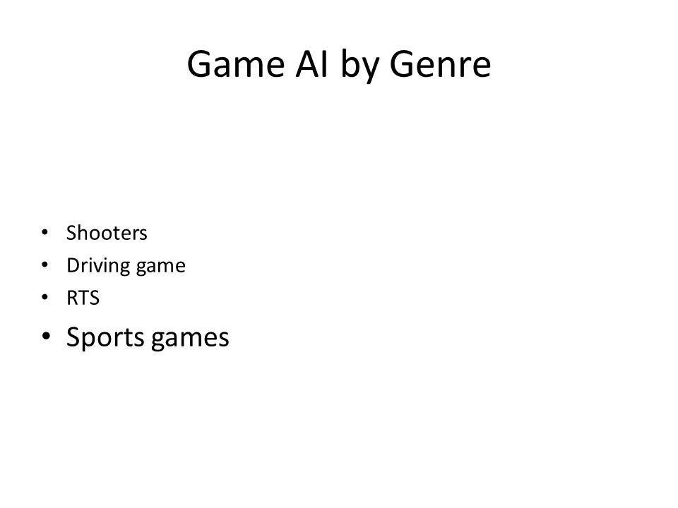 Game AI by Genre Shooters Driving game RTS Sports games
