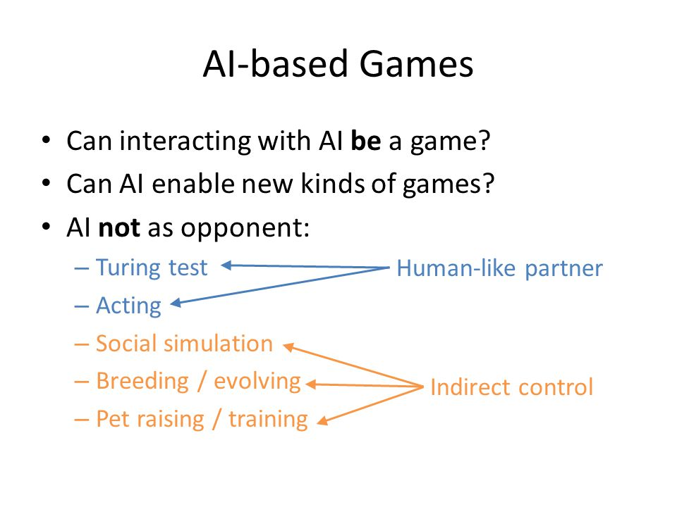 AI-based Games Can interacting with AI be a game. Can AI enable new kinds of games.