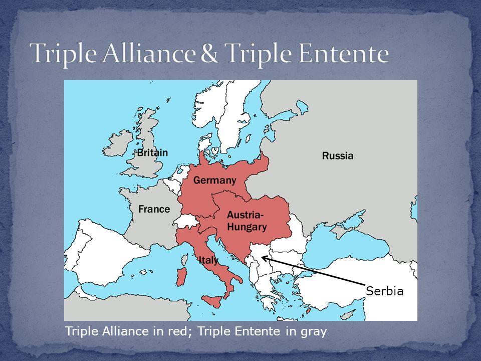 Triple Alliance in red; Triple Entente in gray Serbia