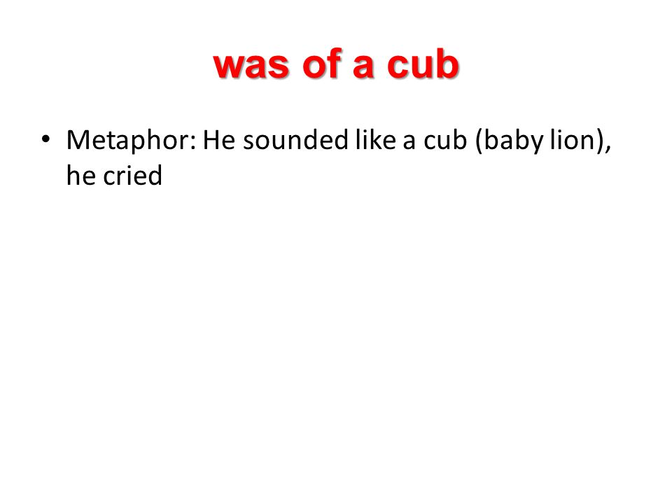 was of a cub Metaphor: He sounded like a cub (baby lion), he cried