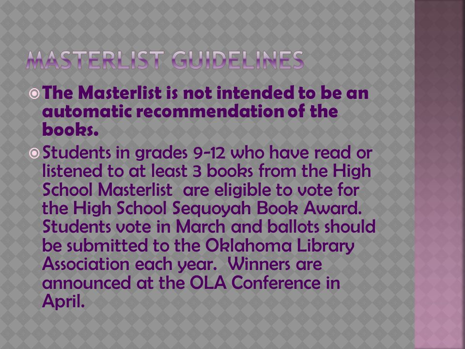  The Masterlist is not intended to be an automatic recommendation of the books.