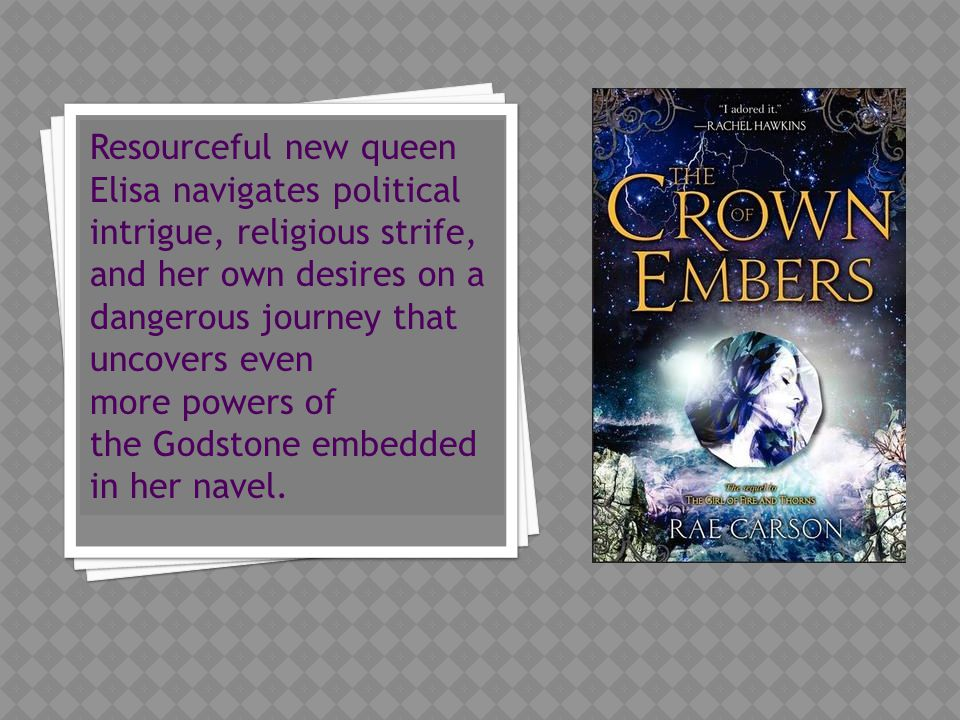Resourceful new queen Elisa navigates political intrigue, religious strife, and her own desires on a dangerous journey that uncovers even more powers of the Godstone embedded in her navel.