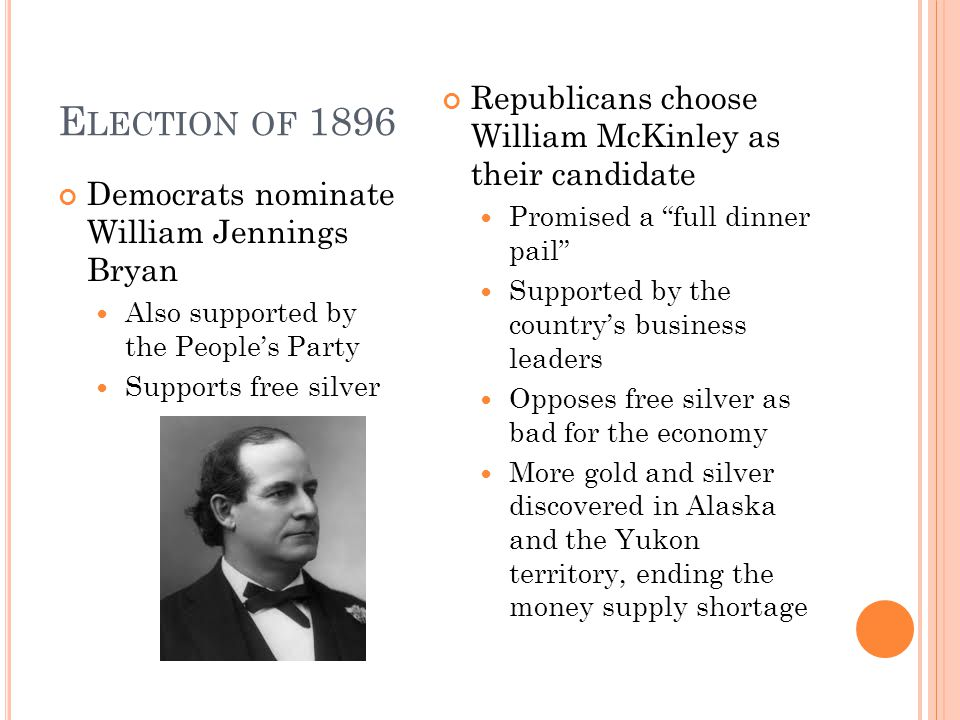 E LECTION OF 1896 Democrats nominate William Jennings Bryan Also supported by the People's Party Supports free silver Republicans choose William McKinley as their candidate Promised a full dinner pail Supported by the country's business leaders Opposes free silver as bad for the economy More gold and silver discovered in Alaska and the Yukon territory, ending the money supply shortage