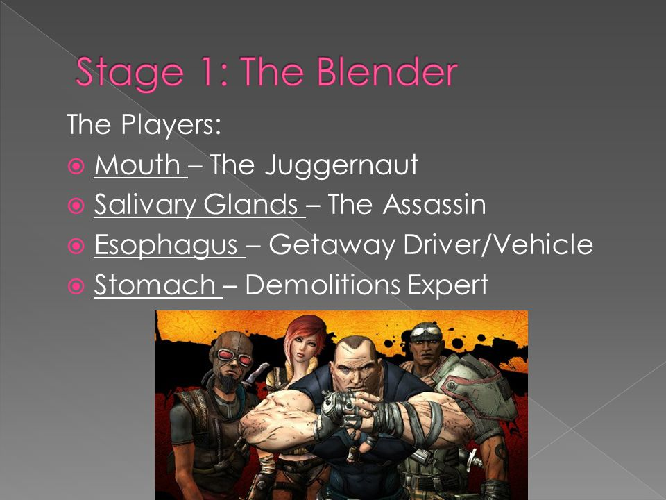 The Players:  Mouth – The Juggernaut  Salivary Glands – The Assassin  Esophagus – Getaway Driver/Vehicle  Stomach – Demolitions Expert