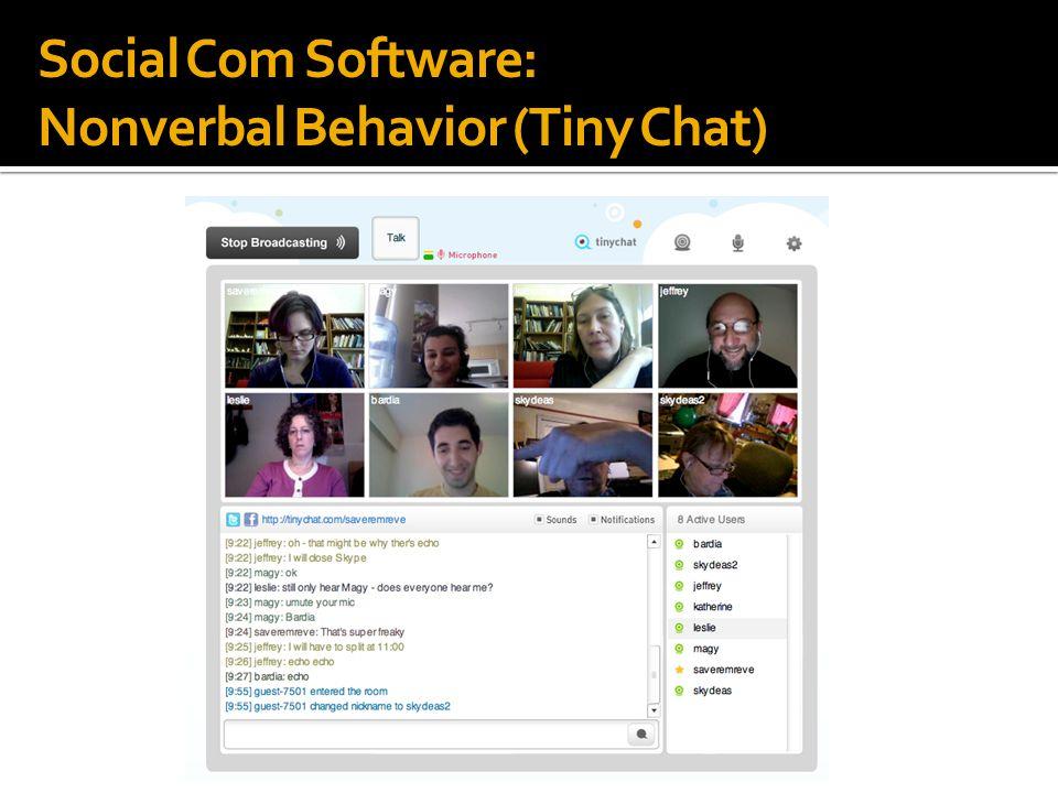 Social Com Software: Nonverbal Behavior (Tiny Chat)