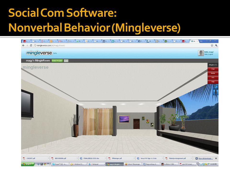 Social Com Software: Nonverbal Behavior (Mingleverse)
