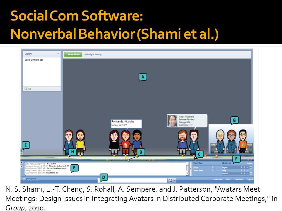 Social Com Software: Nonverbal Behavior (Shami et al.) N.