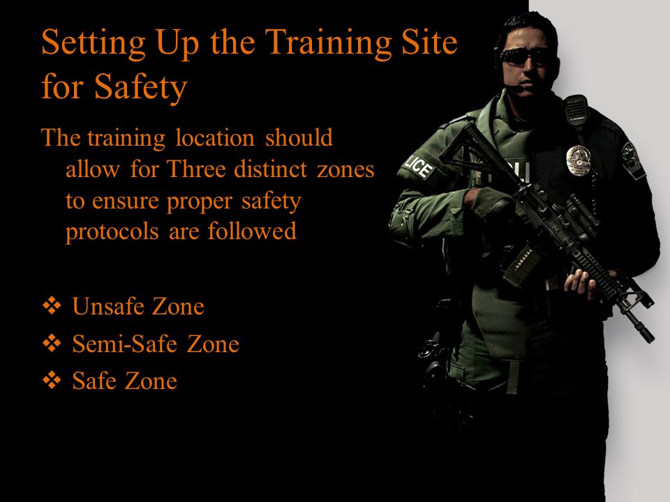 Setting Up the Training Site for Safety The training location should allow for Three distinct zones to ensure proper safety protocols are followed  U