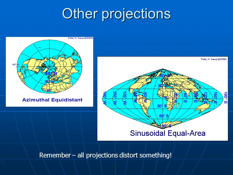 Other projections Remember – all projections distort something!