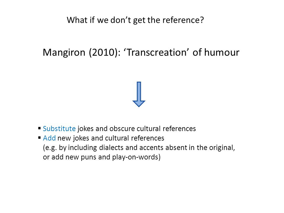 Mangiron (2010): 'Transcreation' of humour  Substitute jokes and obscure cultural references  Add new jokes and cultural references (e.g. by includi