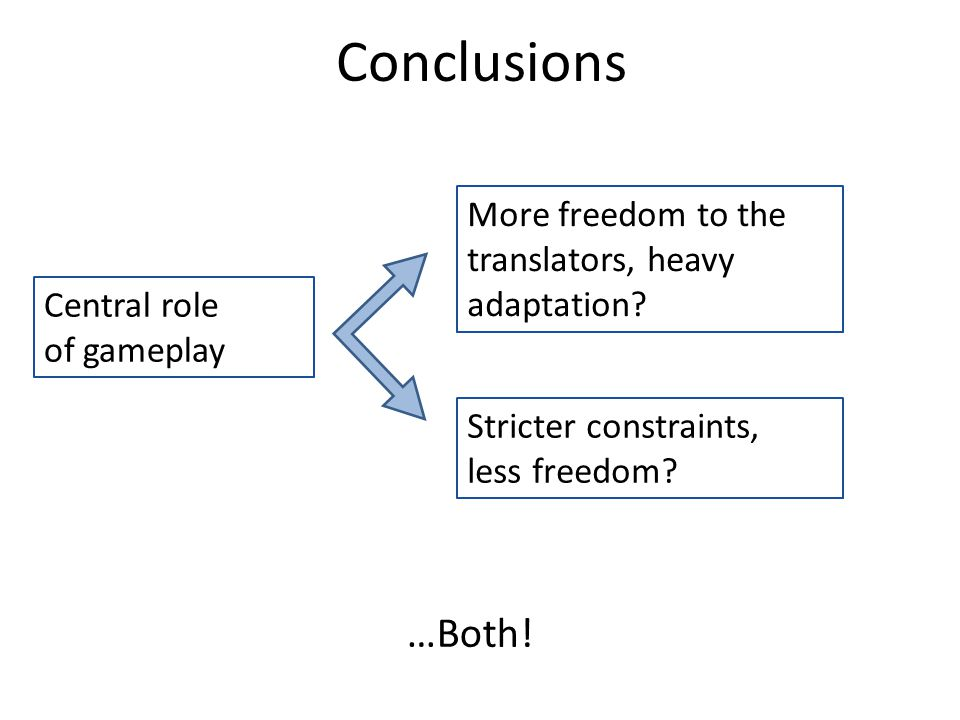 Central role of gameplay More freedom to the translators, heavy adaptation.