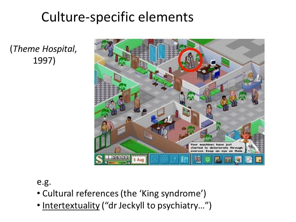 "Culture-specific elements e.g. Cultural references (the 'King syndrome') Intertextuality (""dr Jeckyll to psychiatry…"") (Theme Hospital, 1997)"
