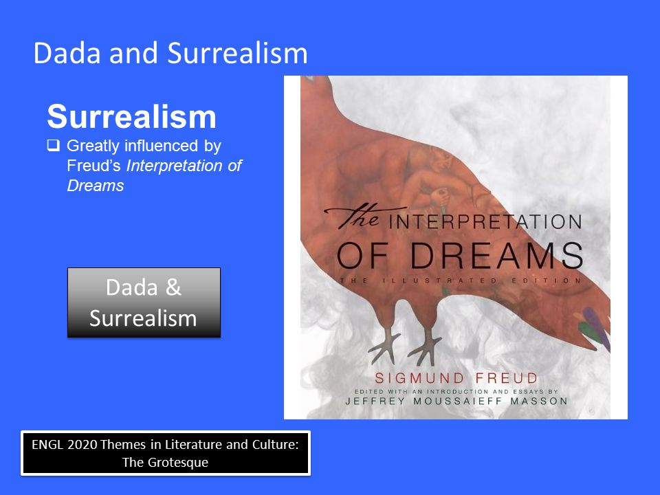 ENGL 2020 Themes in Literature and Culture: The Grotesque Dada and Surrealism Surrealism  Greatly influenced by Freud's Interpretation of Dreams Dada