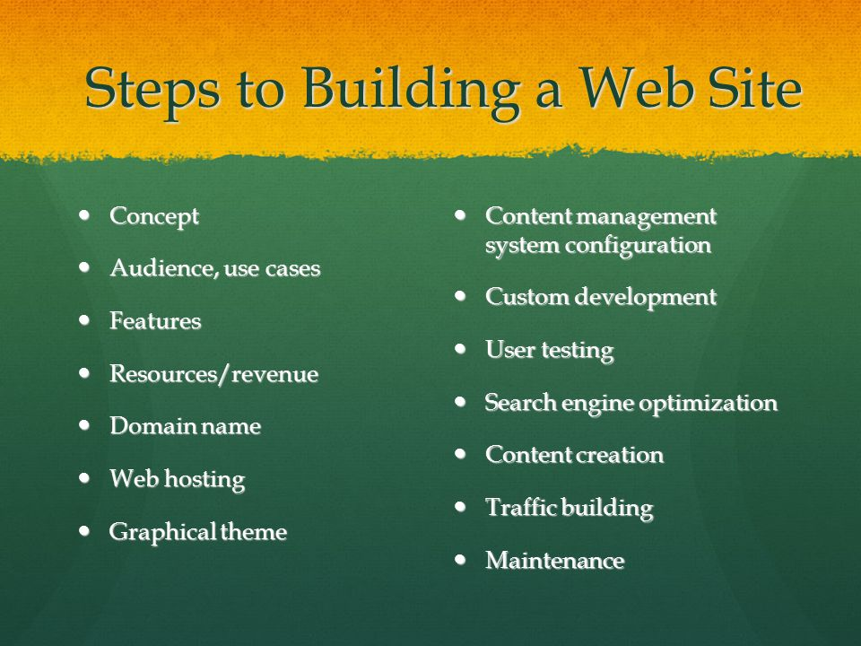 Steps to Building a Web Site Concept Concept Audience, use cases Audience, use cases Features Features Resources/revenue Resources/revenue Domain name Domain name Web hosting Web hosting Graphical theme Graphical theme Content management system configuration Content management system configuration Custom development Custom development User testing User testing Search engine optimization Search engine optimization Content creation Content creation Traffic building Traffic building Maintenance Maintenance