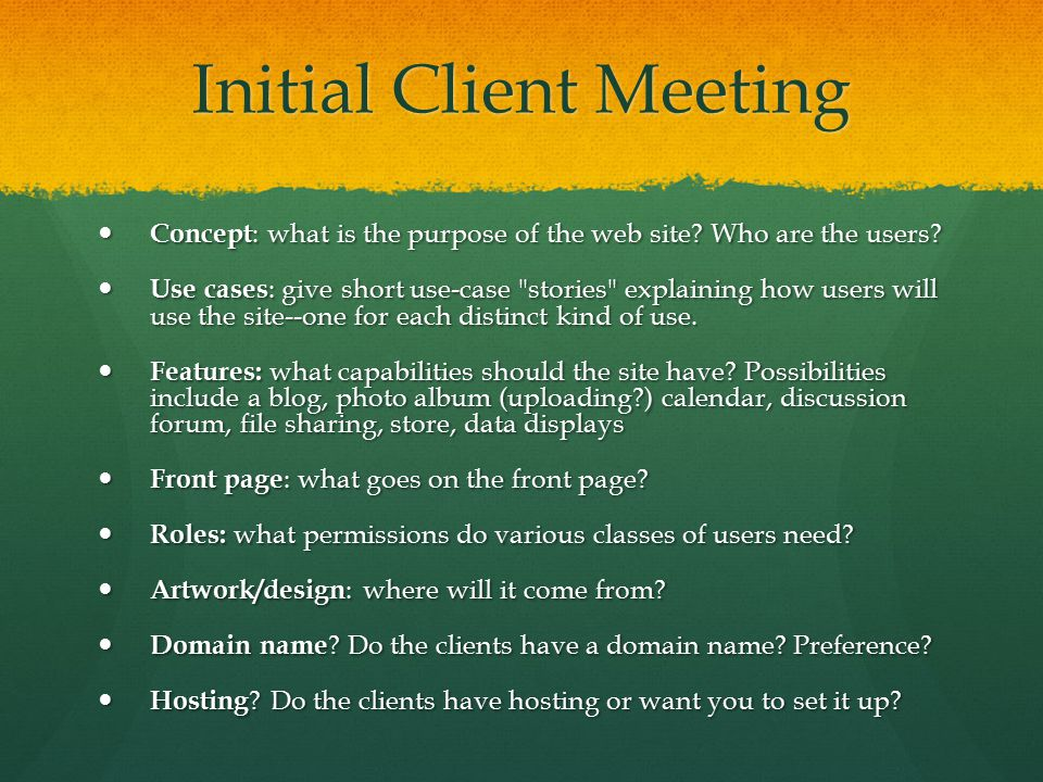 Initial Client Meeting Concept : what is the purpose of the web site? Who are the users? Concept : what is the purpose of the web site? Who are the us