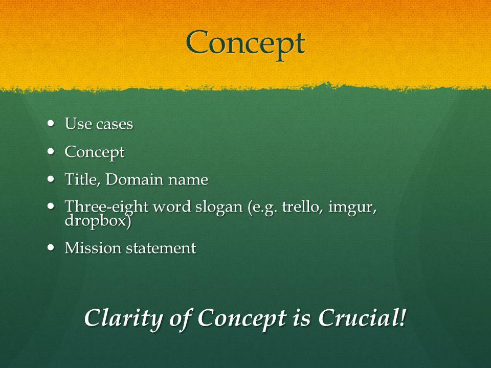 Concept Use cases Use cases Concept Concept Title, Domain name Title, Domain name Three-eight word slogan (e.g.