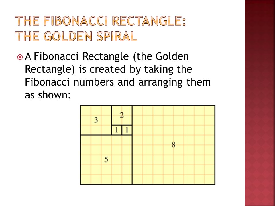  A Fibonacci Rectangle (the Golden Rectangle) is created by taking the Fibonacci numbers and arranging them as shown: