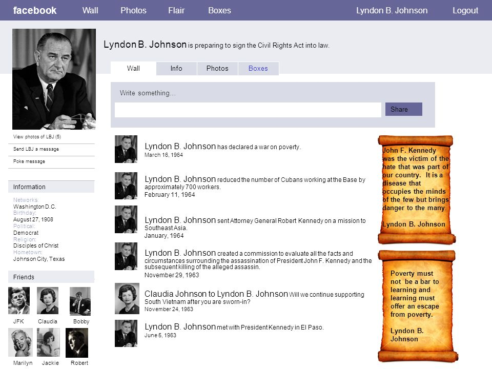 Personal Information facebook Lyndon B.Johnson is preparing to sign the Civil Rights Act into law.