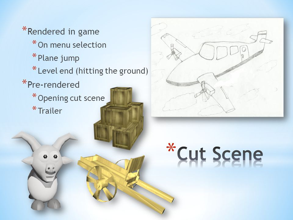 * Rendered in game * On menu selection * Plane jump * Level end (hitting the ground) * Pre-rendered * Opening cut scene * Trailer