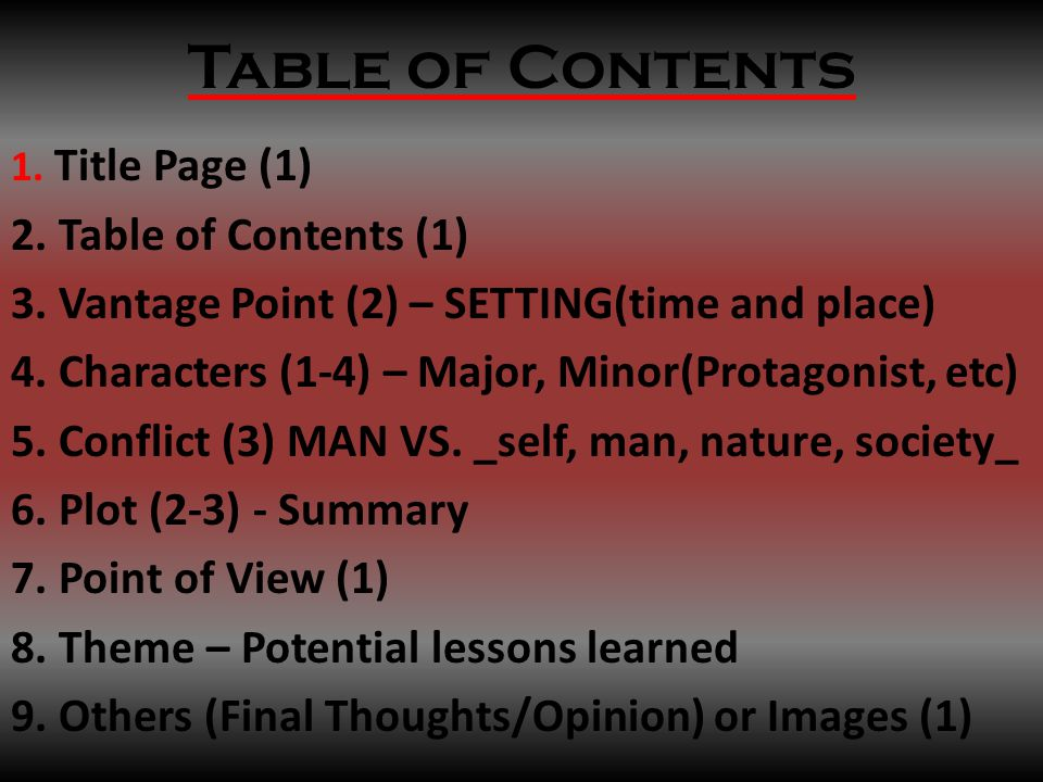 Table of Contents 1. Title Page (1) 2. Table of Contents (1) 3.