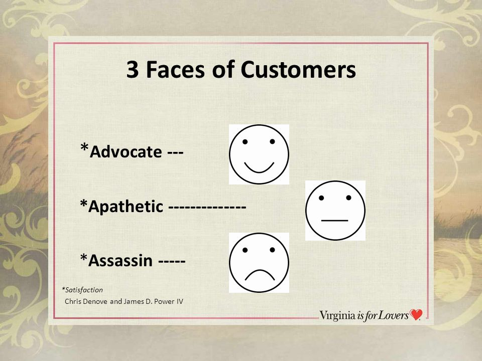 3 Faces of Customers * Advocate --- *Apathetic -------------- *Assassin ----- *Satisfaction Chris Denove and James D.
