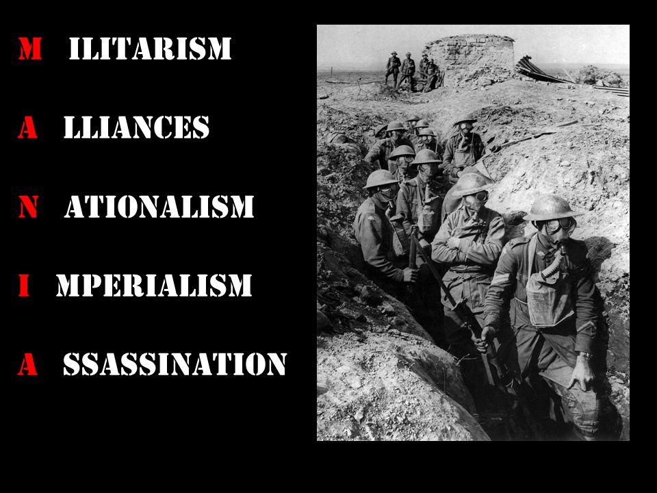 M ilitarism A lliances N ationalism I mperialism A ssassination