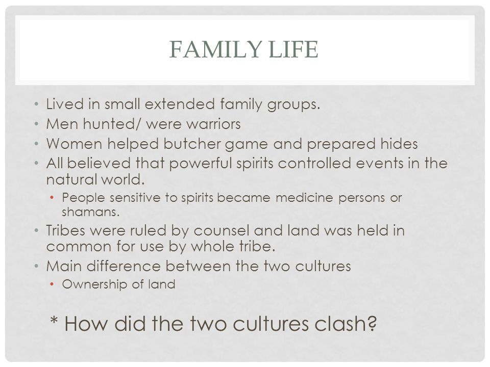 FAMILY LIFE Lived in small extended family groups. Men hunted/ were warriors Women helped butcher game and prepared hides All believed that powerful s