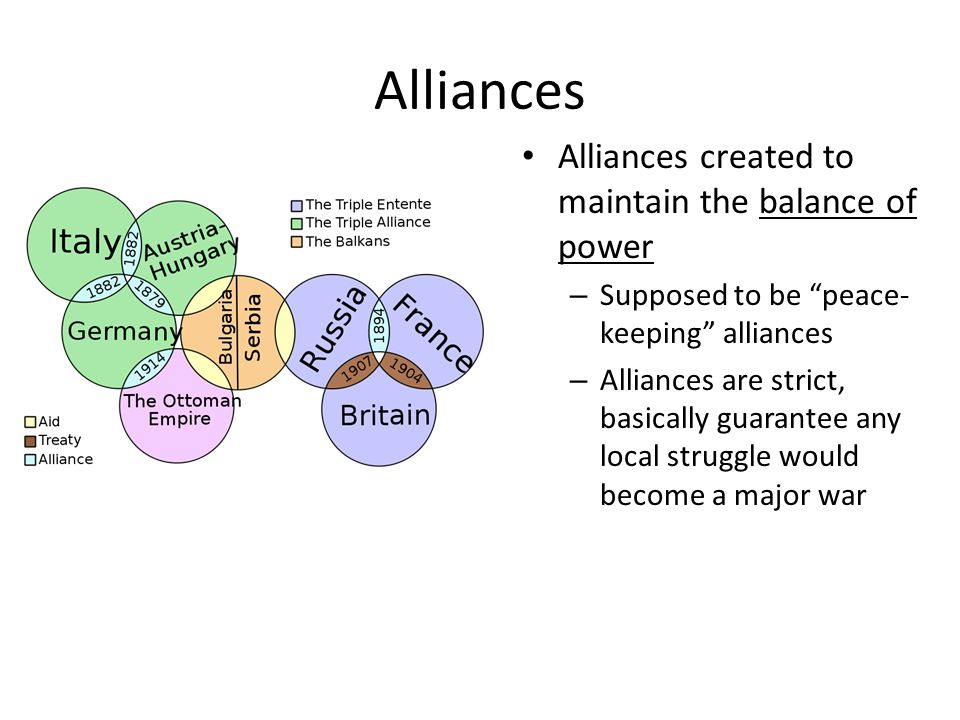 "Alliances Alliances created to maintain the balance of power – Supposed to be ""peace- keeping"" alliances – Alliances are strict, basically guarantee a"