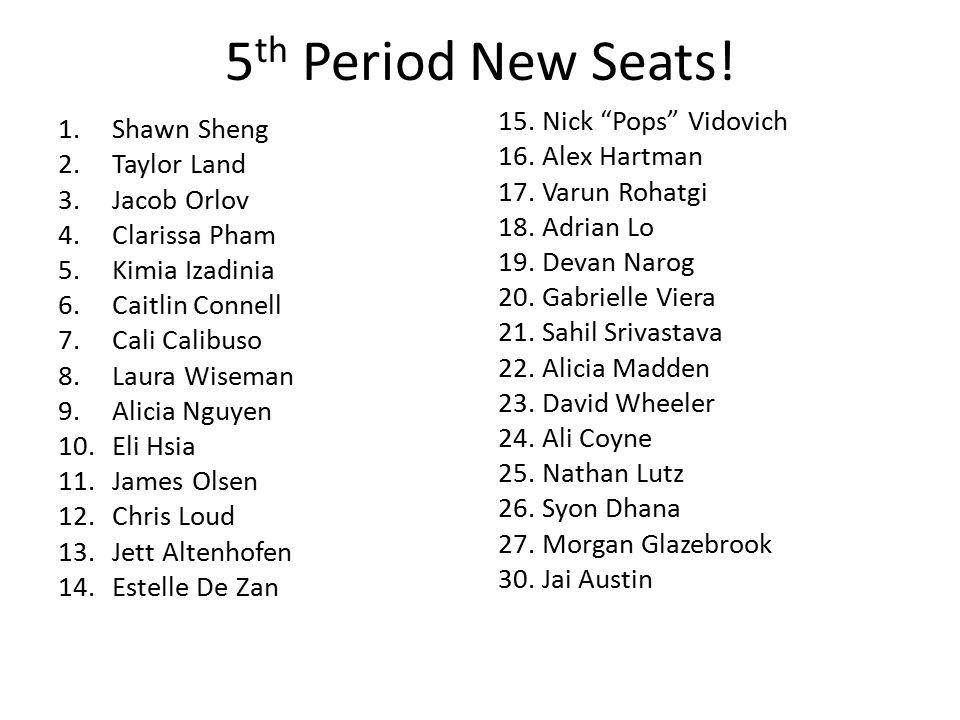 5 th Period New Seats.