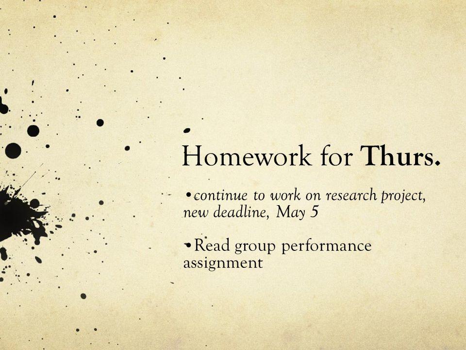Homework for Thurs.