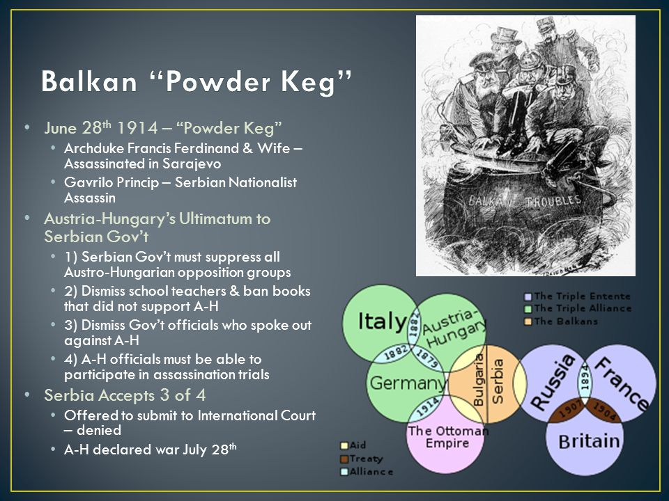 June 28 th 1914 – Powder Keg Archduke Francis Ferdinand & Wife – Assassinated in Sarajevo Gavrilo Princip – Serbian Nationalist Assassin Austria-Hungary's Ultimatum to Serbian Gov't 1) Serbian Gov't must suppress all Austro-Hungarian opposition groups 2) Dismiss school teachers & ban books that did not support A-H 3) Dismiss Gov't officials who spoke out against A-H 4) A-H officials must be able to participate in assassination trials Serbia Accepts 3 of 4 Offered to submit to International Court – denied A-H declared war July 28 th