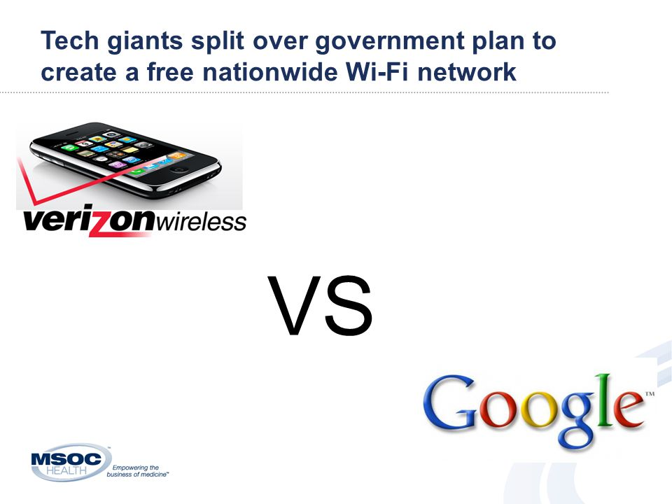 Tech giants split over government plan to create a free nationwide Wi-Fi network VS