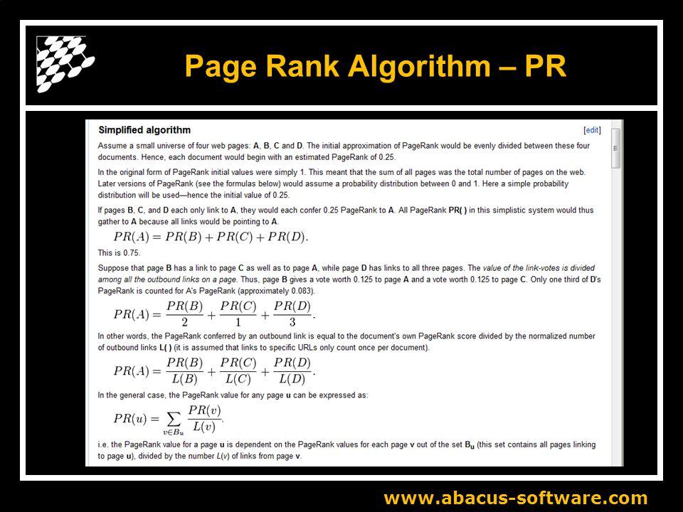 www.abacus-software.com Page Rank Algorithm – PR