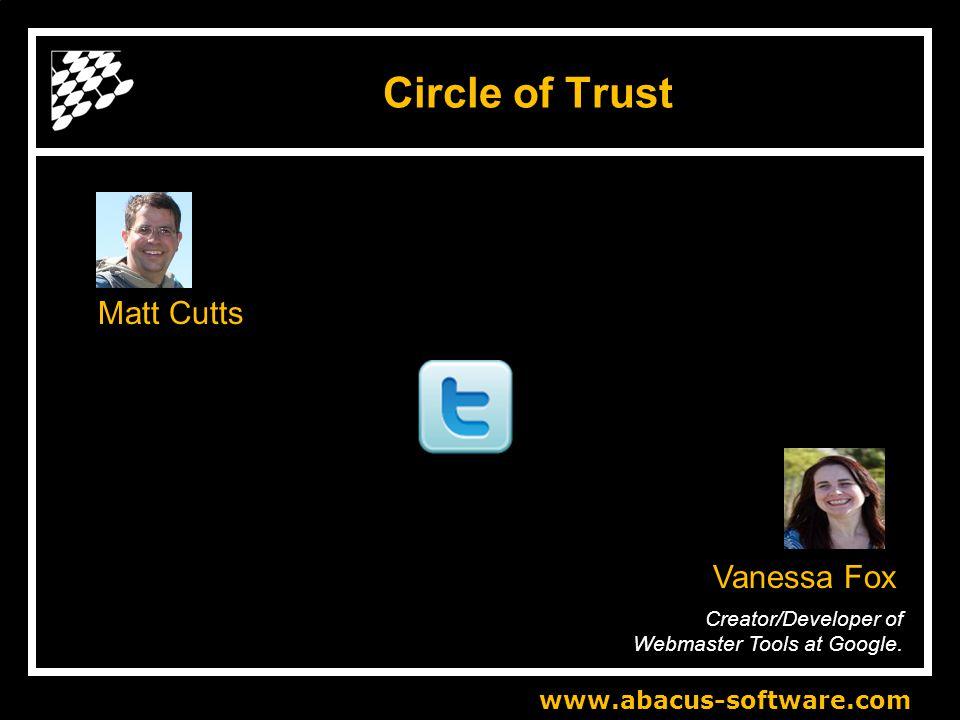 www.abacus-software.com Circle of Trust Matt Cutts Creator/Developer of Webmaster Tools at Google.