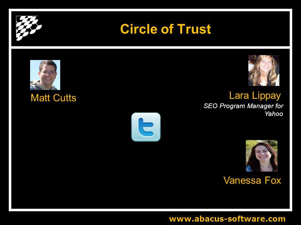 www.abacus-software.com Circle of Trust Matt Cutts SEO Program Manager for Yahoo Vanessa Fox Lara Lippay