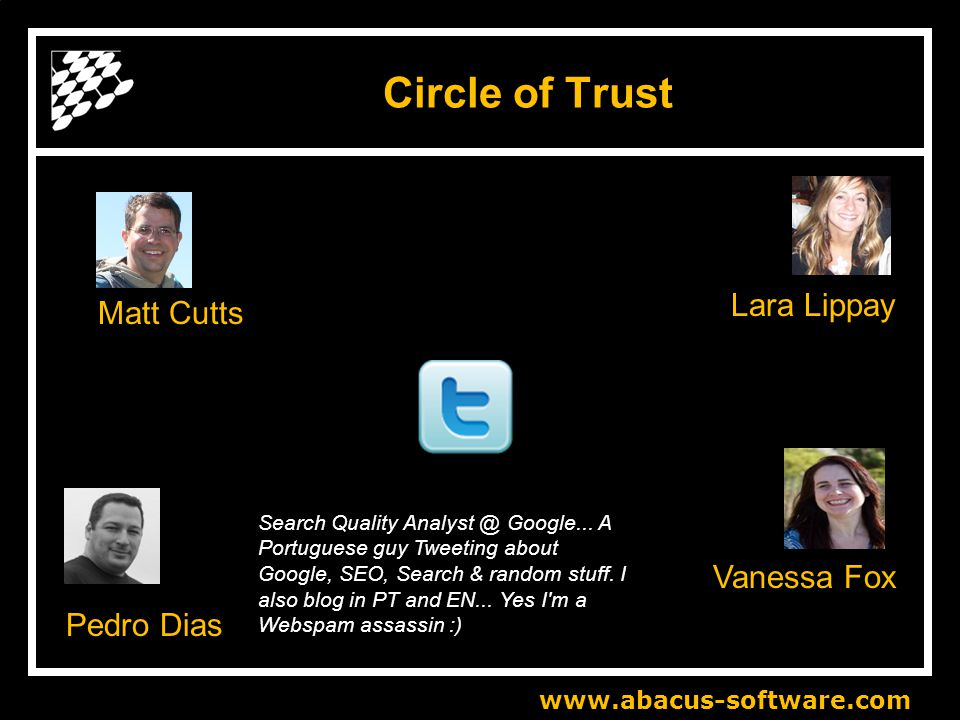 www.abacus-software.com Circle of Trust Matt Cutts Search Quality Analyst @ Google...