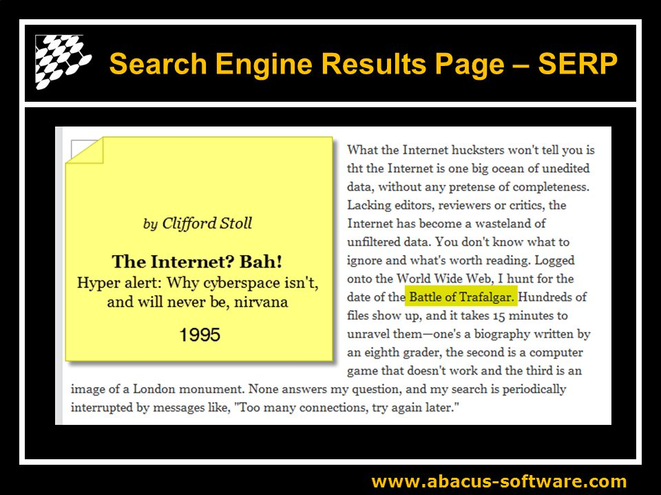 www.abacus-software.com Search Engine Results Page – SERP