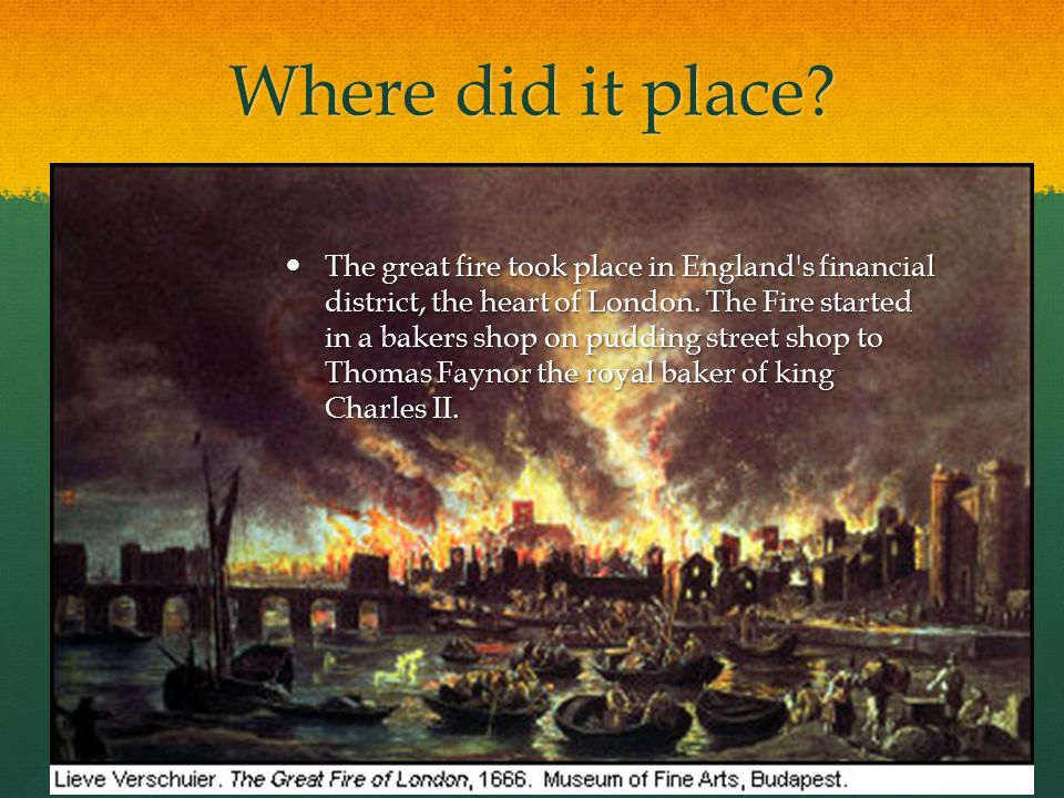 Where did it place. The great fire took place in England s financial district, the heart of London.