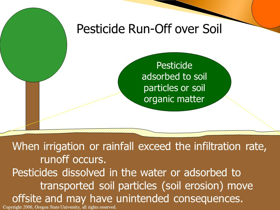 Pesticide Run-Off over Soil When irrigation or rainfall exceed the infiltration rate, runoff occurs.