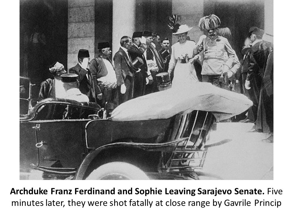 Archduke Ferdinand and his wife Sophie one hour before they would be shot and killed by Serb nationalist Gavrilo Princip as they drove through the streets of Sarajevo.