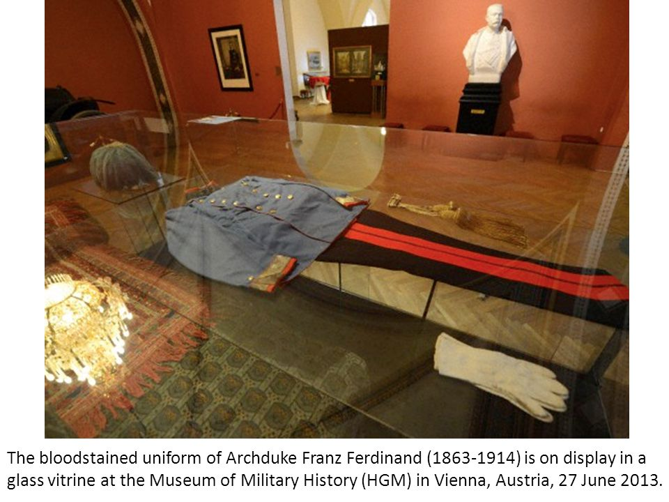 A box with the bloodstained shirt of Archduke Franz Ferdinand (1863-1914) is on display in a glass vitrine at the Museum of Military History (HGM) in Vienna, Austrai, 27 June 2013.