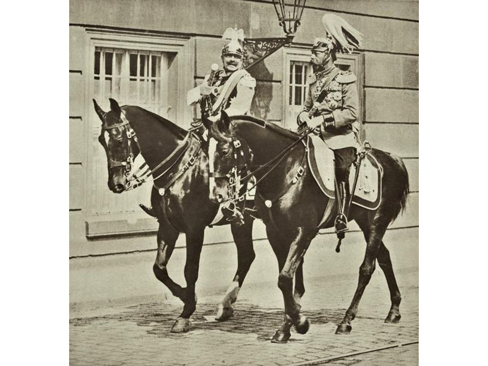 Emperor Wilhelm II and Czar Nicholas II Original caption: Waist-up photograph shows the meeting of Czar Nicholas II and Kaiser Wilhelm II prior to the beginning of World War I.