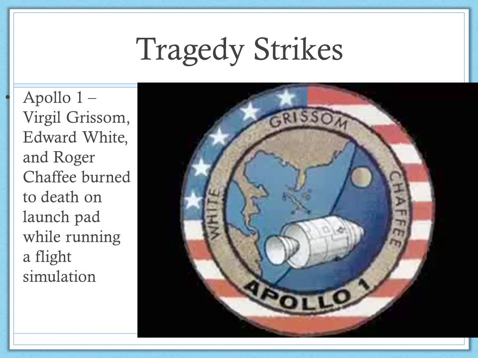 Tragedy Strikes Apollo 1 – Virgil Grissom, Edward White, and Roger Chaffee burned to death on launch pad while running a flight simulation
