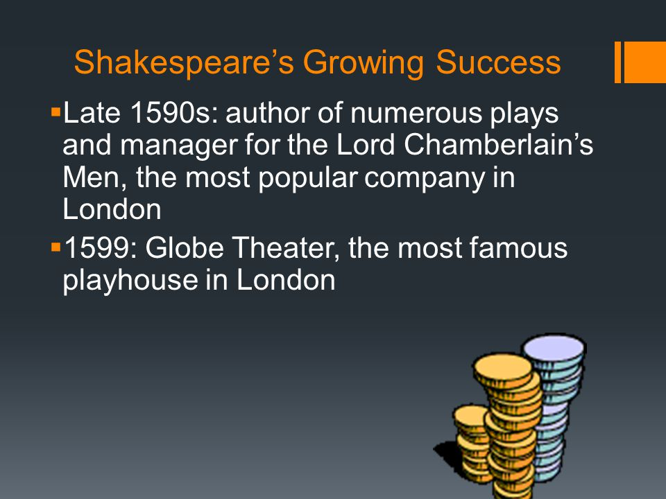 Shakespeare's Growing Success  Late 1590s: author of numerous plays and manager for the Lord Chamberlain's Men, the most popular company in London  1599: Globe Theater, the most famous playhouse in London