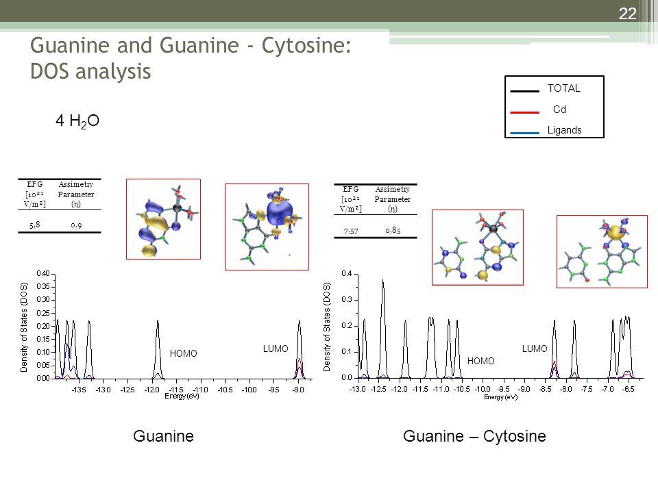 Guanine and Guanine - Cytosine: DOS analysis 22 Guanine – Cytosine Guanine 4 H 2 O HOMO LUMO EFG [10²¹ V/m²] Assimetry Parameter (η) 5,80,9 EFG [10²¹ V/m²] Assimetry Parameter (η) 7,570,85 TOTAL Cd Ligands