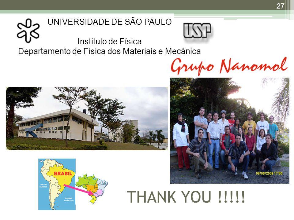 UNIVERSIDADE DE SÃO PAULO Instituto de Física Departamento de Física dos Materiais e Mecânica THANK YOU !!!!.