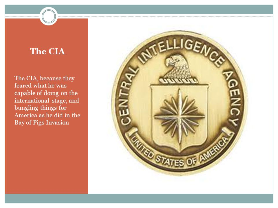 The CIA The CIA, because they feared what he was capable of doing on the international stage, and bungling things for America as he did in the Bay of Pigs Invasion