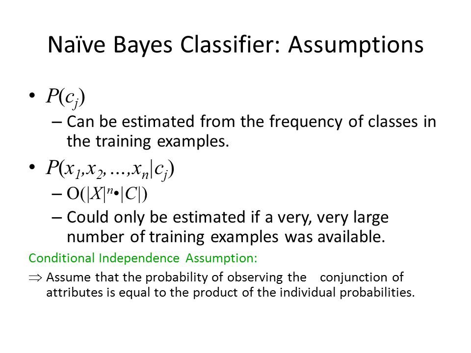 Naïve Bayes Classifier: Assumptions P(c j ) – Can be estimated from the frequency of classes in the training examples.
