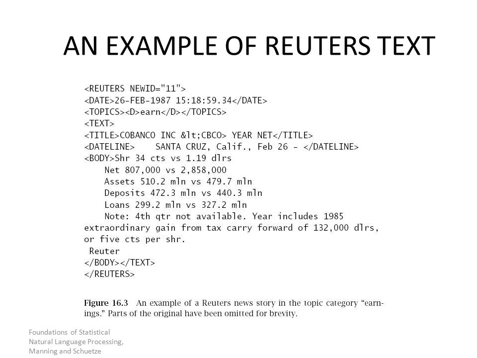 Foundations of Statistical Natural Language Processing, Manning and Schuetze AN EXAMPLE OF REUTERS TEXT