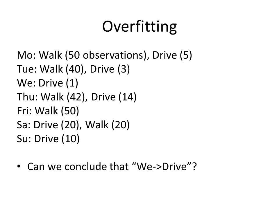 Overfitting Mo: Walk (50 observations), Drive (5) Tue: Walk (40), Drive (3) We: Drive (1) Thu: Walk (42), Drive (14) Fri: Walk (50) Sa: Drive (20), Wa